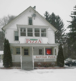 Bantam Pizza snow covered...