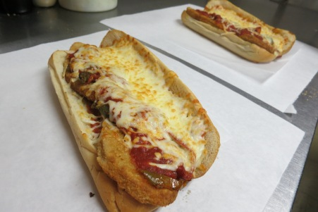 Meatball sub, chicken parmesan